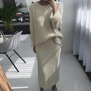 Iztzo Crew Neck Solid Long Sleeve Two Piece Dress