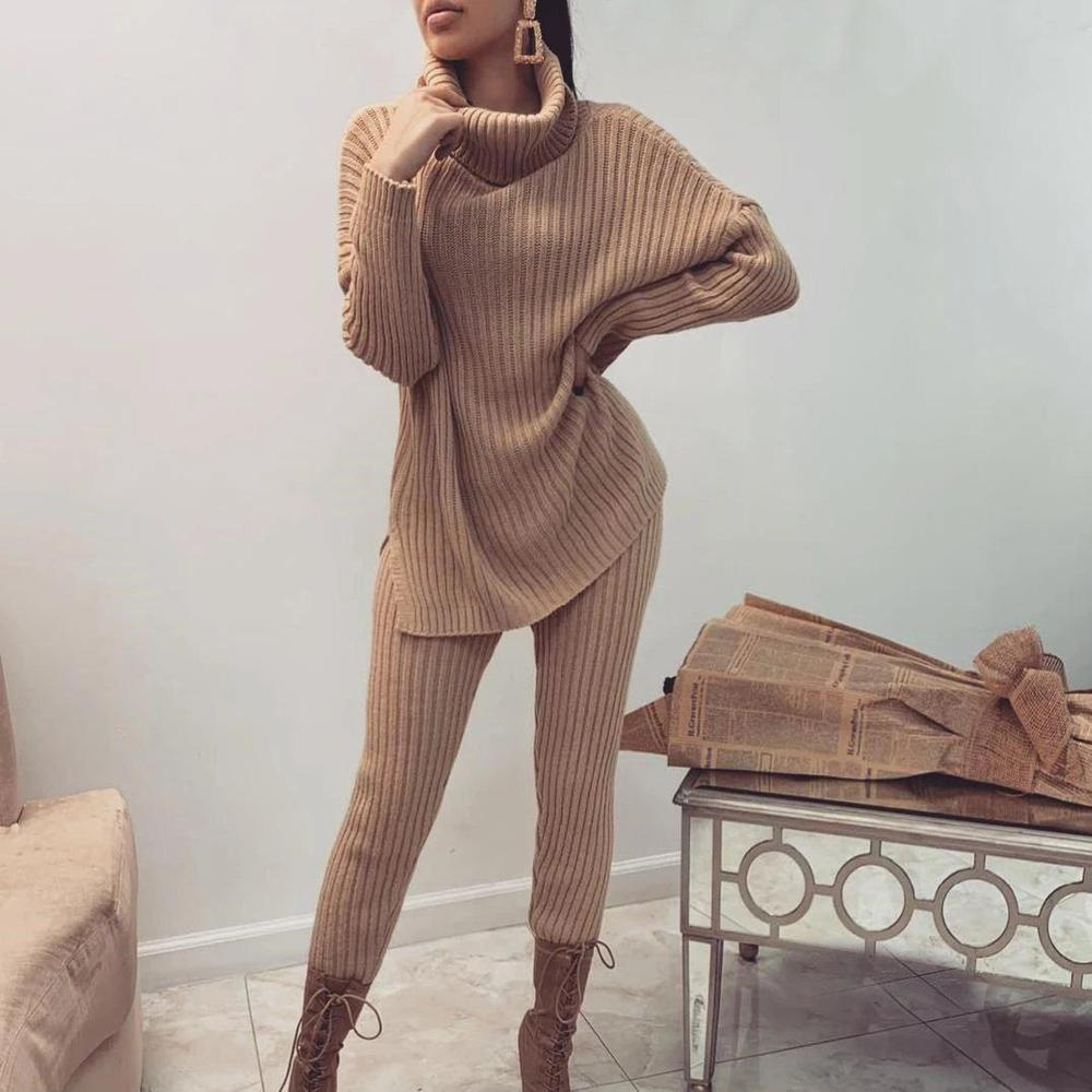 Iztzo Camel Turtle Neck Long Sleeve Sweater Two-Piece Set