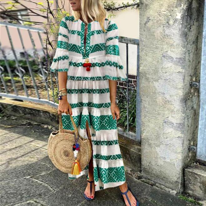 Iztzo Green Geometric Maxi Vacation Dress