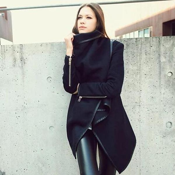 Iztzo Turtle Neck Front Wrapped Zipper Trench Coat