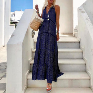 Iztzo Dark Blue V-Neck Ruffled Maxi Dress