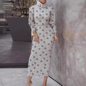 Iztzo Turtle Neck Polka Dot Long Sleeve Midi Dress