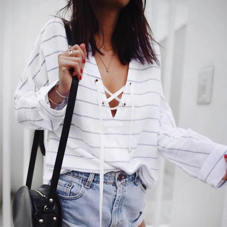 Iztzo Fashion Casual Loose Strip Long Sleeve Blouse