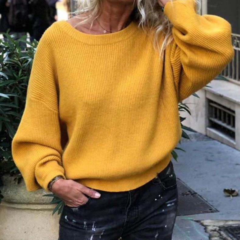 Iztzo Fashion Yellow Round Neck Long Sleeve Casual Sweater