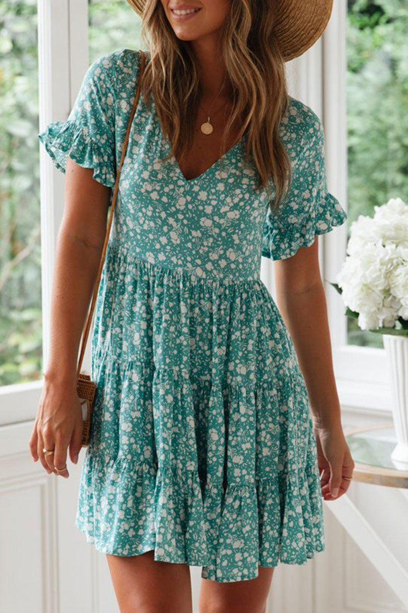 Iztzo Floral Printed Blue Mini Dress