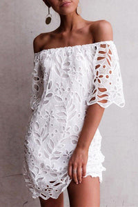 Iztzo Off The Shoulder White Mini Dress