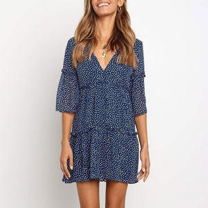 Iztzo Ruffle V-Neck Polka Dot Swing Casual Mini Dress