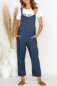 Iztzo Buttons Design Navy One-Piece Jumpsuit