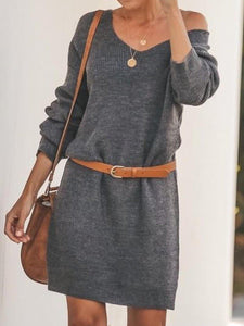 Solid Color Long Sleeve Knit Mini Dress