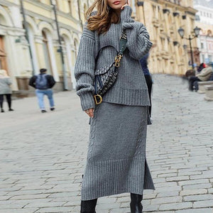 Iztzo Casual Loose Long Sleeve Two Piece Dress
