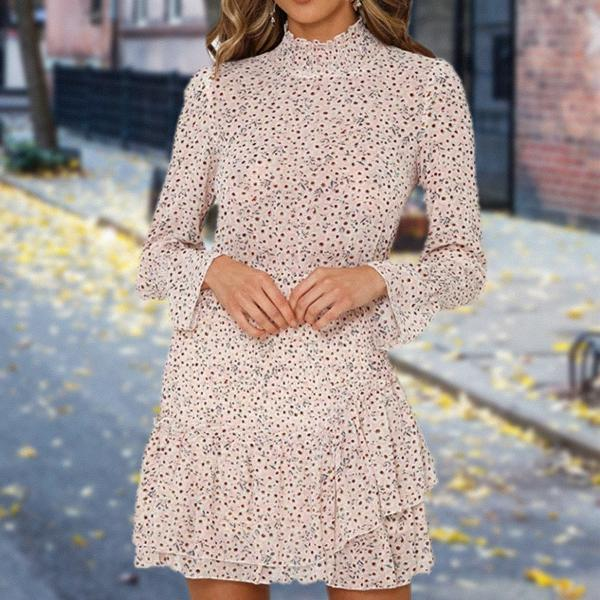 High Neck Fitted Long Sleeve Mini Dress