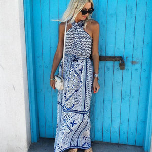Iztzo Vacation Ethnic Printed Halter Maxi Dress