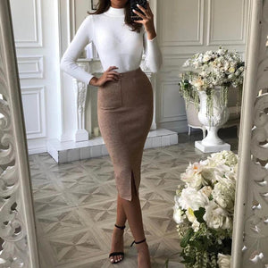 Iztzo Classic High Neck Long Sleeve Solid Color Sweater Two-Piece Dress