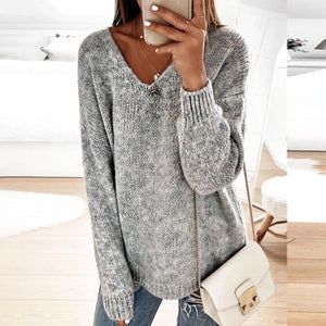 Iztzo Vintage V-Neck Long Sleeve Solid Sweater