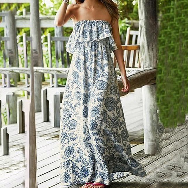 Iztzo Off Shoulder Cascading Ruffles  Bohemian Maxi Dress