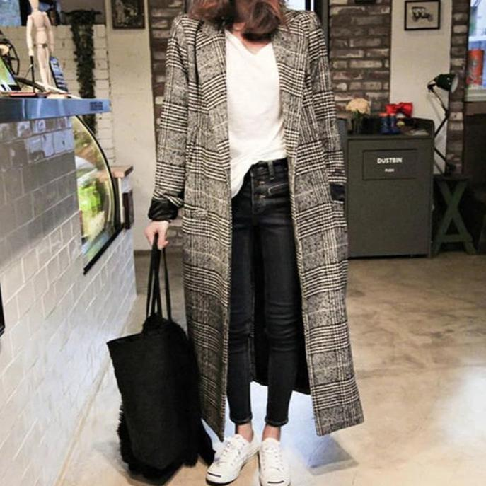 Iztzo Fashion Oversize Plaid Lapel Long Coat