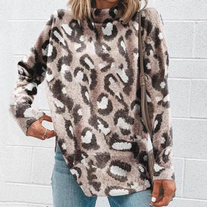 Iztzo Fashion High Collar Leopard Sweater