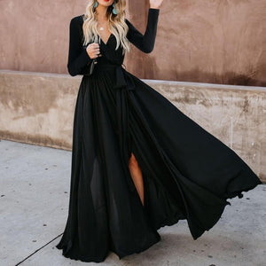 Iztzo Sexy Deep V Collar Plain Slim Slit Evening Maxi Dress