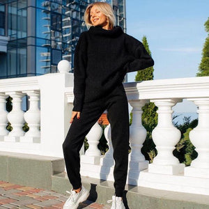 Iztzo Classic High Neck Long Sleeve Two-Piece Set