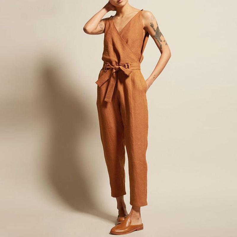 Iztzo V-Neck High Waist Belt Casual Jumpsuit