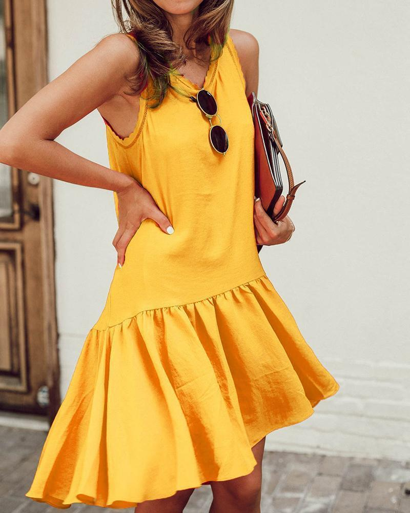 Iztzo Round Neck Ruffled Sleeveless Dress