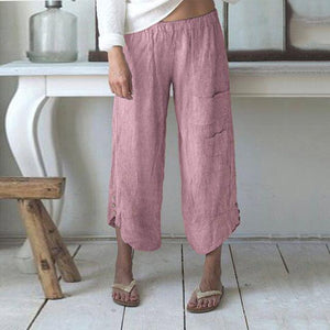 Iztzo Striped Pocket Button Cotton Wide Leg Pants