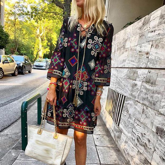 Iztzo Embroidered Pattern Cross Straps Cropped Sleeves Cotton And Linen Dress