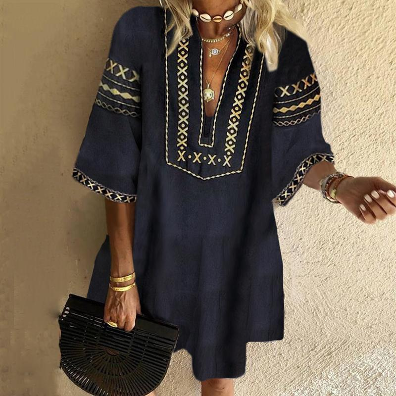Iztzo Bohemian Printed Loose Mini Dress