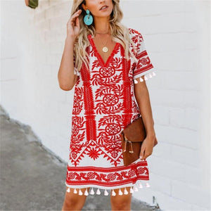 Iztzo Bohemian Printed Tassel V-Neck Dress