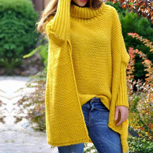 Iztzo Design High Collar Pure Color Batwing Sleeve Slit Sweater