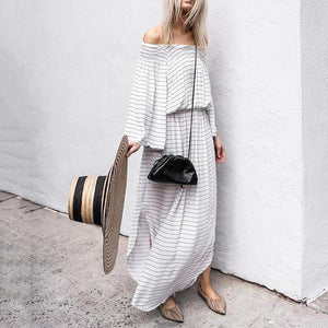 Iztzo Casual Word Collar Loose Long Sleeve Striped Side Slit Dress