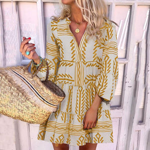 Iztzo Sweet Printed Color V-Neck Loose Mini Dress