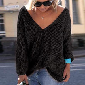 Iztzo Oversized Plain Deep V-Neck Knit Sweater
