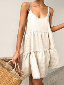 Iztzo White Sleeveless Sexy V-Neck Halter Midi Dress