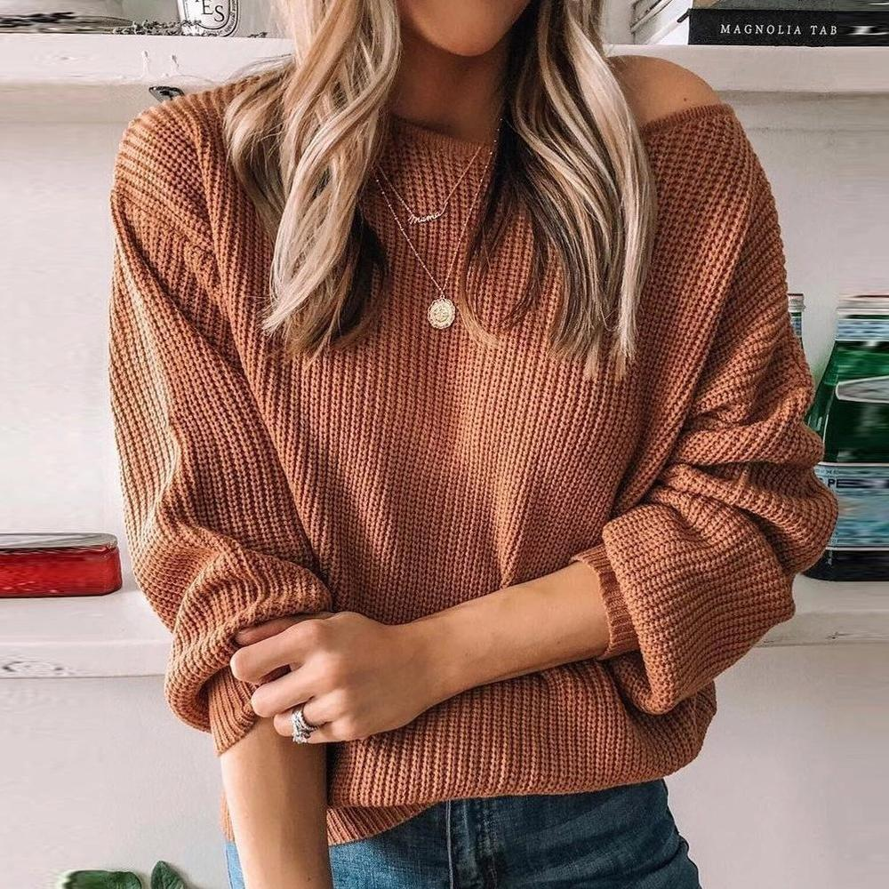 Iztzo Long Sleeve Casual Solid Round Neck Sweater