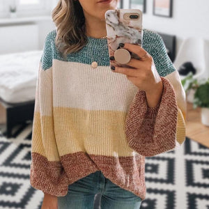 Iztzo Casual Coloring Striped Loose Long Puff Sleeves Sweater