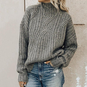 Iztzo Casual Plus Size Turtleneck Long Sleeve Sweater