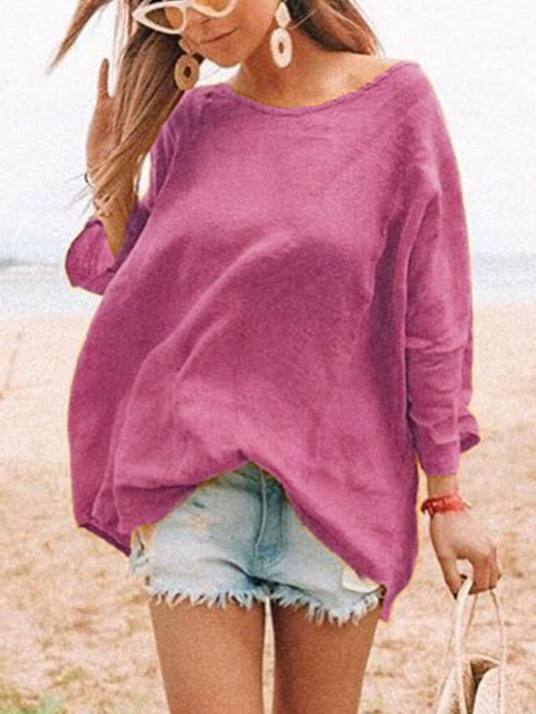 Iztzo Loose Solid Color Round-Neck T-Shirt