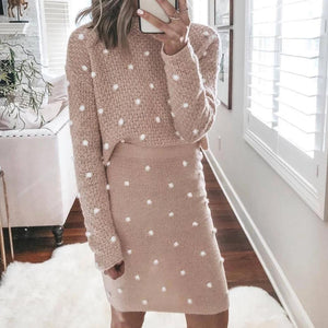 Iztzo Loose Round Neck Long Sleeve Two-Piece Dress
