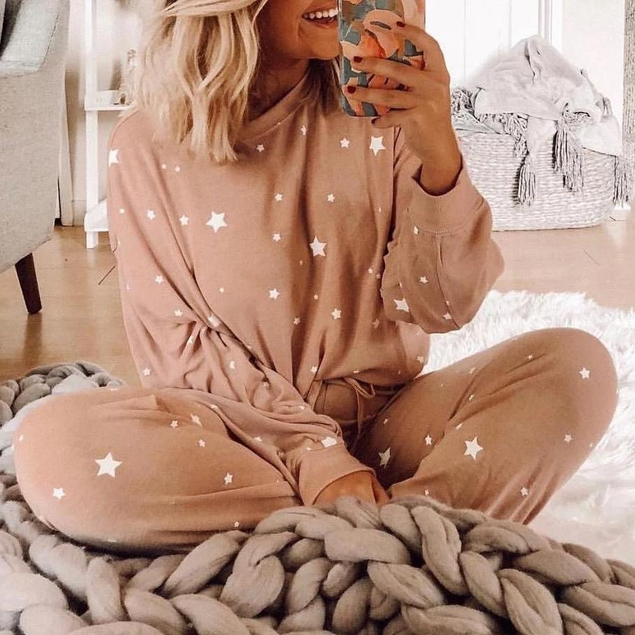 Iztzo Pink Star Print Long Sleeve Sweatshirt Jogger Pant Two-Piece Set