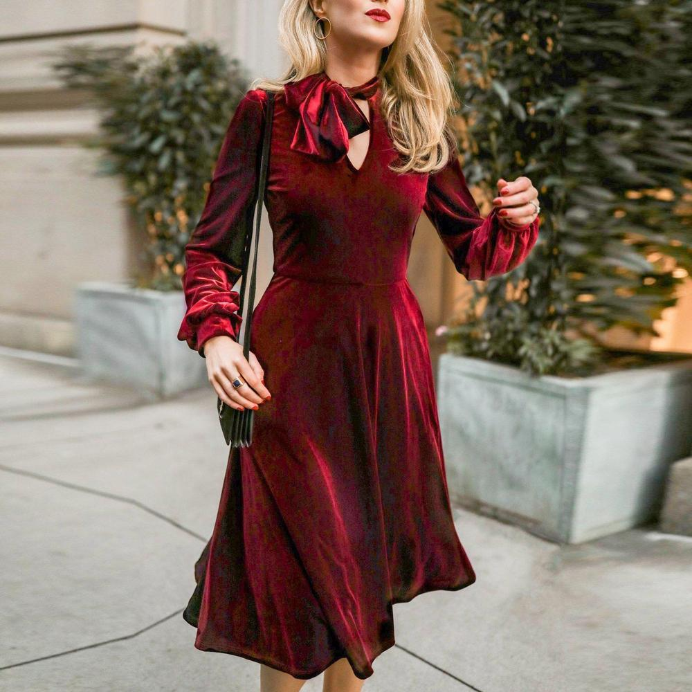 Iztzo Burgundy Tied Neck Long Sleeve Velvet Midi Dress