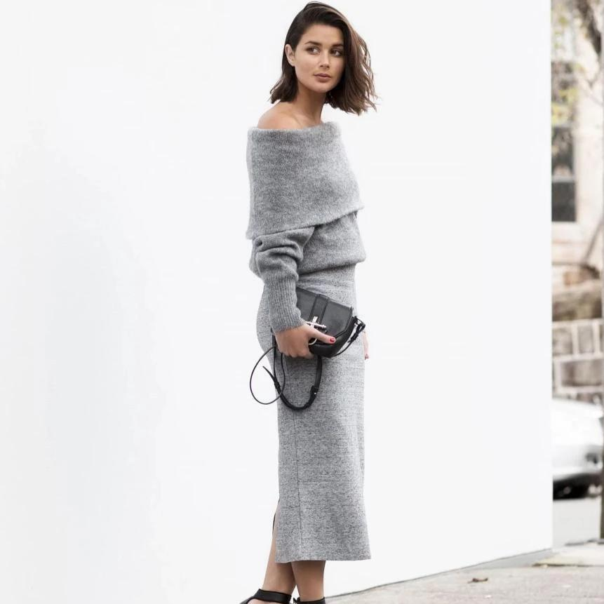 Iztzo Grey Off The Shoulder Two Piece Dress
