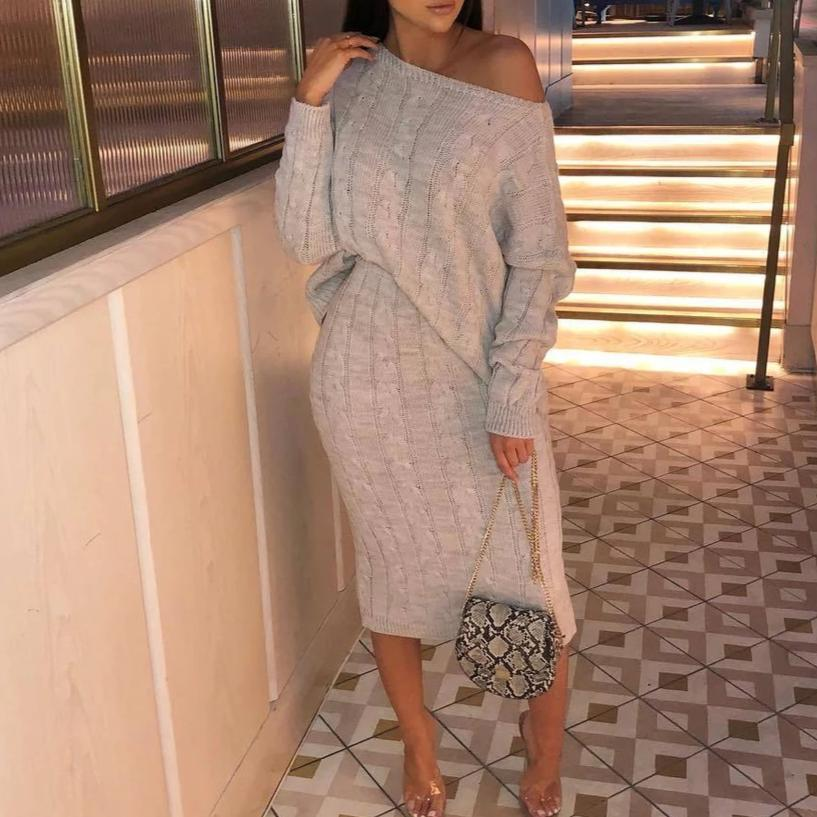 Iztzo Chic Off Shoulder Long Sleeve Loose Sweater Two-Piece Dress