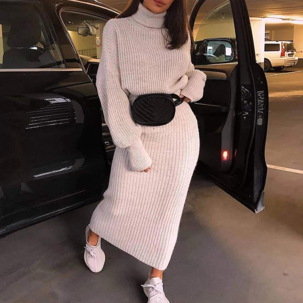 Iztzo Casual Solid Color Long Sleeve Sweater Two-Piece Dress