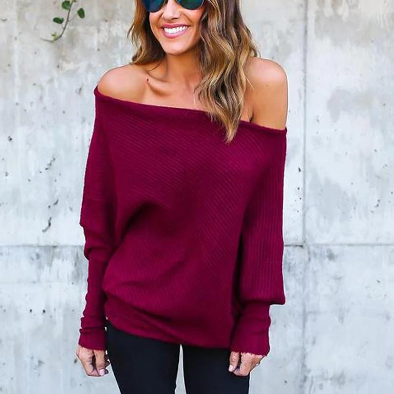 Iztzo Casual Off The Shoulder Batwing Sleeve Tee Top