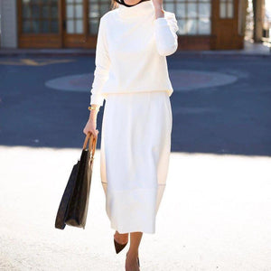 Iztzo Chic High Neck Long Sleeve Tees Two Piece Dress