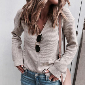 Iztzo Sexy V-Neck Long Sleeve Sweater