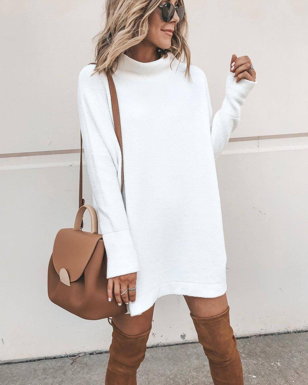 Iztzo Long Sleeve Round Neck Sweater Dress