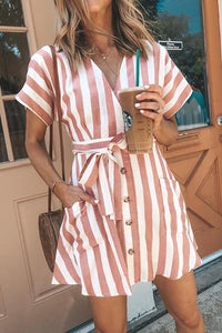 Iztzo Fashion Striped Tie Dress