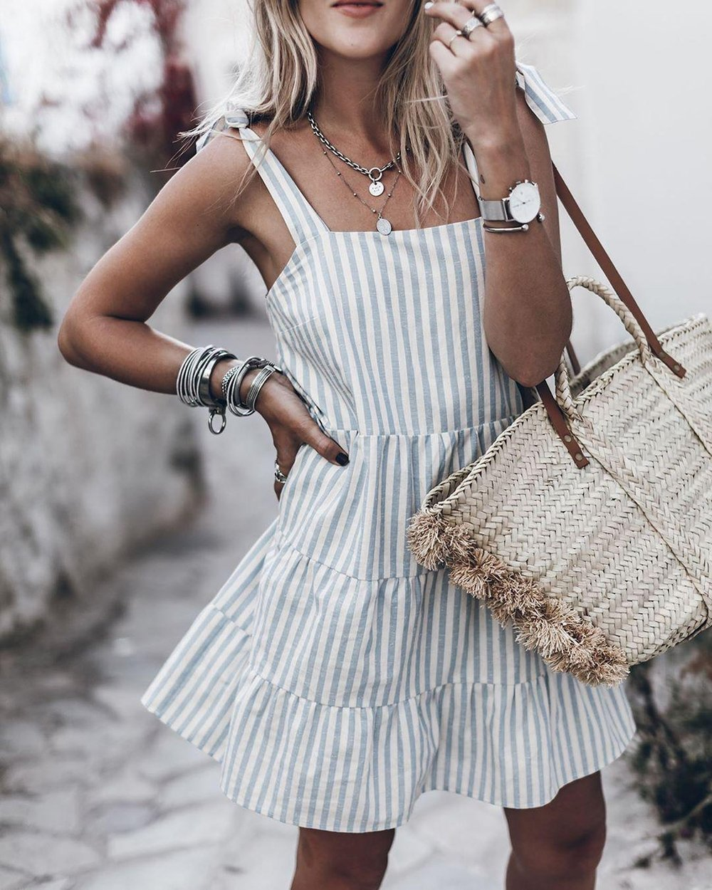 Iztzo Grey And White Striped Straps Mini Dress